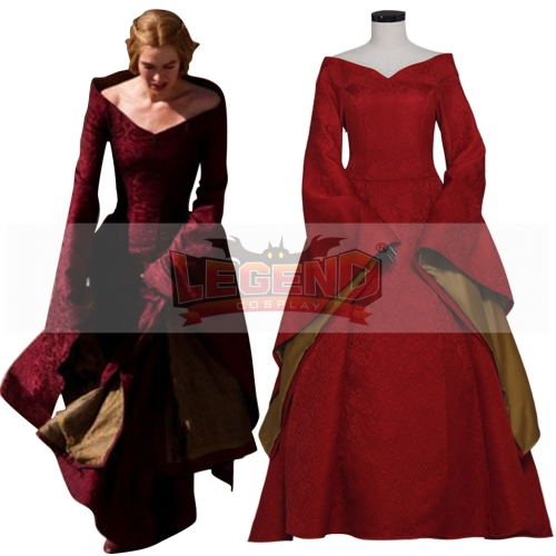 Game of Thrones Cosplay Cersei Lannister Red Medieval Renaissance Costume Dress