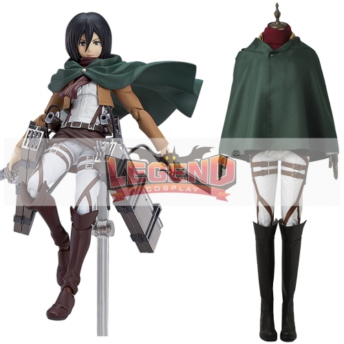 (with shoes)Attack On Titan Mikasa Ackerman cosplay costume