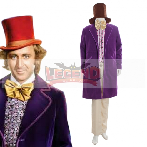 Charlie and the Chocolate Factory Gene Wilder as Willy Wonka 1971 Purple Jacket suit cosplay costume