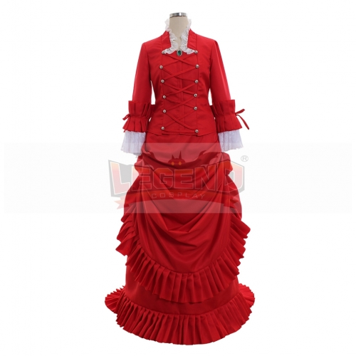 Black Bulter Angelina Dalles Madame Red dress Cosplay Costume Outfit