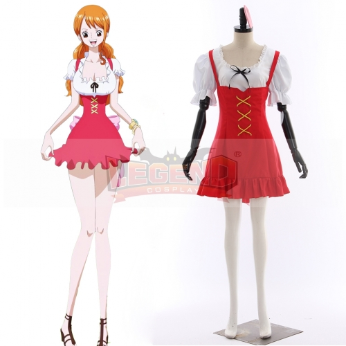 Anime ONE PIECE Nami Cosplay Dress Adult Women Girls Red Dress Cosplay Costume
