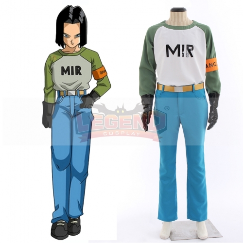 Anime Dragon Ball Android 17 Cosplay Costume Adult  Top Pants Suit Halloween Costume