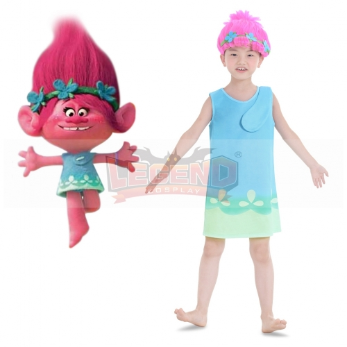 Trolls Children Dress Cosplay Costume For Halloween Party Custom Made