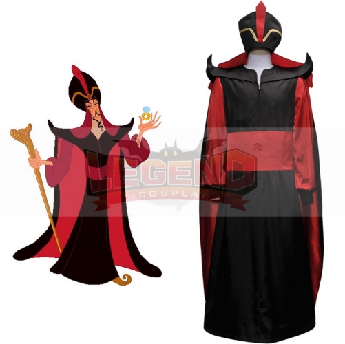 Aladdin The Return of Jafar Hat Wizard Villain Cosplay Costume Robe Cloak Cape Outfit