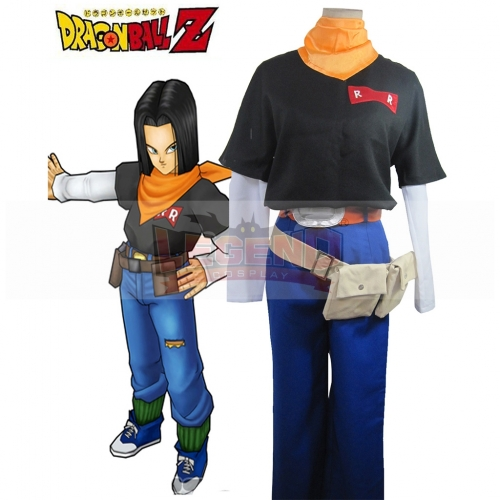 Dragon Ball Z  Android 17 Cosplay Costume For Adult Halloween Custom Made