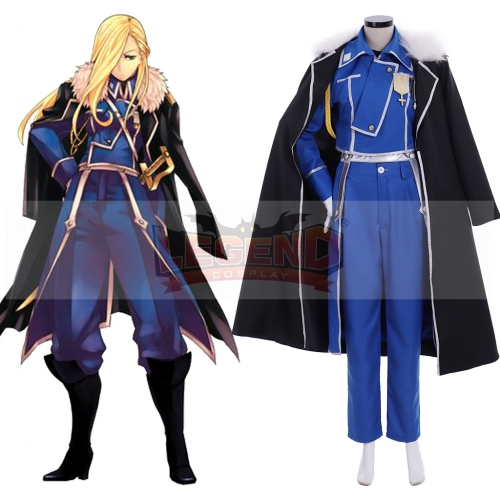 Cosplaylegend Anime Fullmetal Alchemist Olivier Mira Armstrong Cosplay costume adult costume full set custom made outfit with cloak