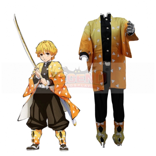 Cosplaylegend Anime Demon Slayer Cosplay Costumes Zenitsu Agatsuma Cosplay Costume Halloween Carnival Party Kimetsu No Yaiba Cosplay