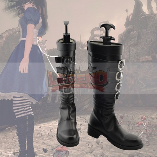 Cosplaylegend Alice: Madness Returns Cosplay Shoes Alice Cosplay Boots Adult Black Winter Cosplay Shoes
