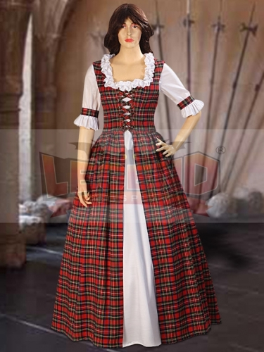 Cosplaylegend Scottish Highland Tartan Two Piece Traditional Dress Handmade in Tartan Plaid for women adult red dress