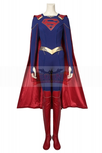 (With Shoes) Supergirl Cosplay Costume Fancy Halloween Costumes Kara Zor -El Outfit Superhero Jumpsuit