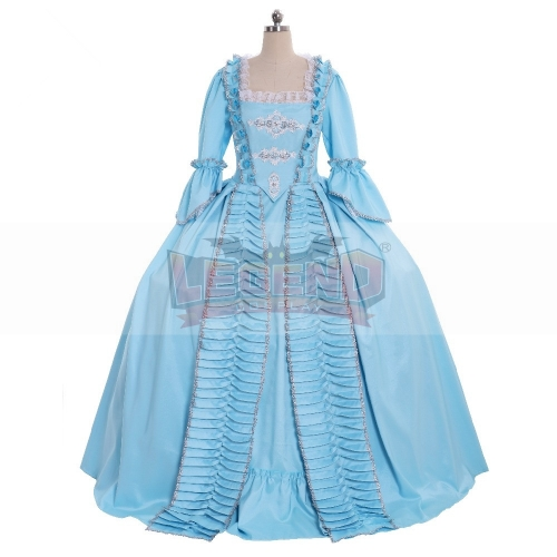 Cosplaylegend 18th century colonial Marie Antoinette blue Gown Dress Rococo 18th Century blue sack back gown medieval dress
