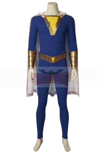 (Without Shoes) Captain Shazam Cosplay Costume Custom Made Superhero Shazam Costume Fancy Jumpsuit men blue outfit