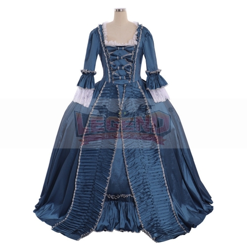 Cosplaylegend Marie Antoinette Baroque Ball Gown Dress 18th Century Colonial Blue Rococo Belle Dress Custom Made
