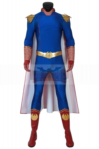 (With Shoes) The Boys Season 1 Costume The Homelander Cosplay Blue Jumpsuit Zentai Adult Men Superhero Halloween Carnival Outfit