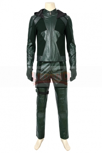 (Without Shoes) Green Arrow Season 8 Oliver Queen Cosplay Costume Adult Men Superhero Halloween Carnival Outfit