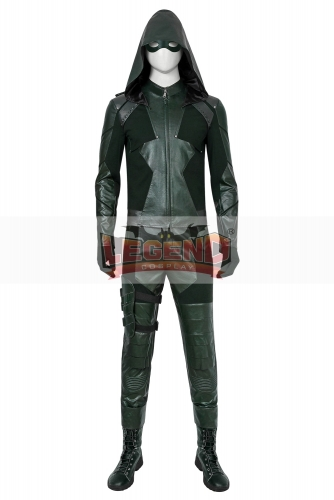 (With Shoes) Green Arrow Season 8 Oliver Queen Cosplay Costume Adult Men Superhero Halloween Carnival Outfit