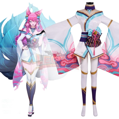 League of Legends LOL Spirit Blossom Ahri Cosplay Kimono Halloween Costume